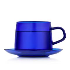Чайная пара 350 мл, синяя стеклянная кружка с блюдцем