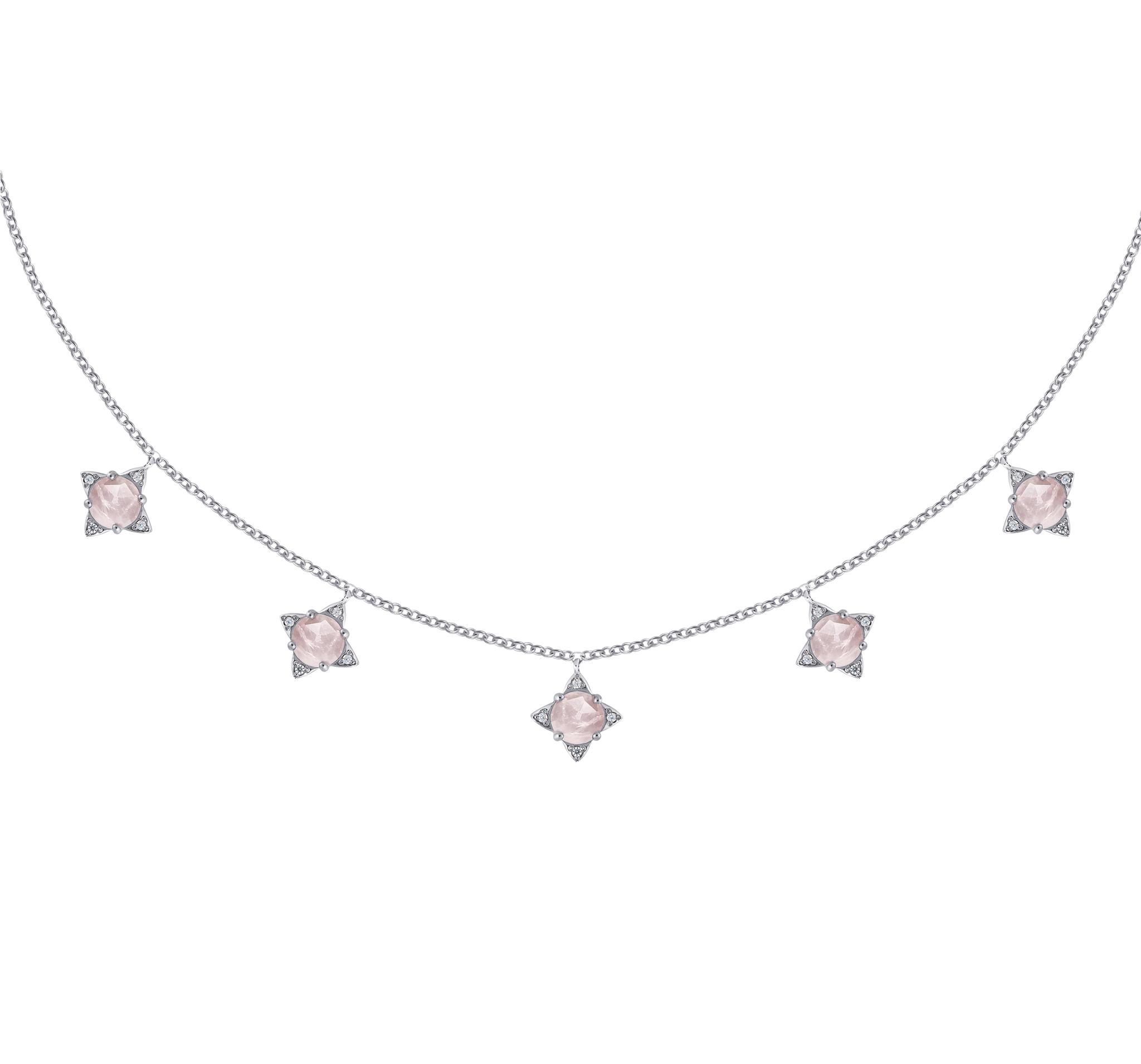Нежное ожерелье с подвесами из розового кварца огранки