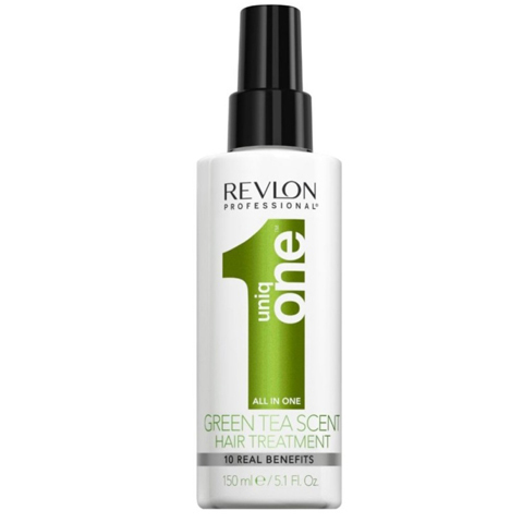 REVLON Uniq One: Несмываемая спрей-маска для ухода за волосами с ароматом зеленого чая (Uniq One All In One Green Tea Scent Hair Treatment), 150мл