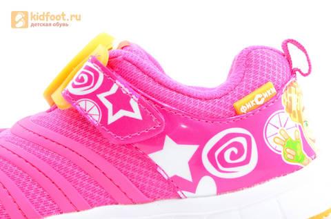 Светящиеся кроссовки для девочек Фиксики на липучках, цвет фуксия, мигает пряжка на липучке. Изображение 11 из 16.