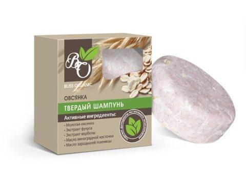 Натуральный твердый шампунь «Овсянка», Bliss organic 65 гр