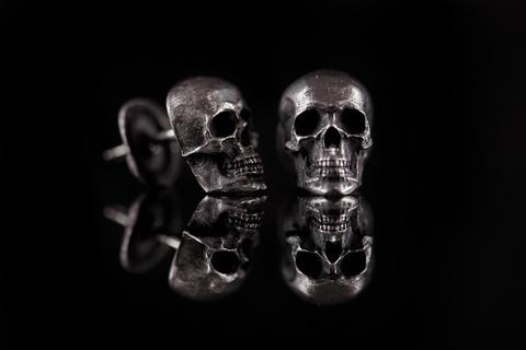 Серьги череп с челюстью