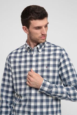 Мужская темно-синяя рубашка в клетку Tommy Hilfiger