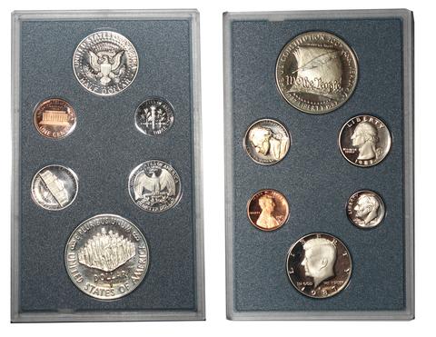 """Годовой набор монет США 1987 год """"200 лет конституции"""" в футляре Proof"""