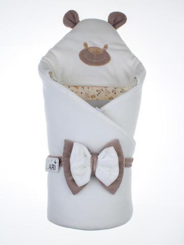 Велюровый конверт Одеяло Панда (кремовый)