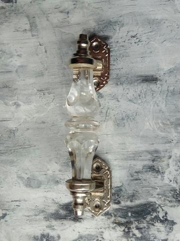 Дверная ручка из прозрачного стекла, малая, хром