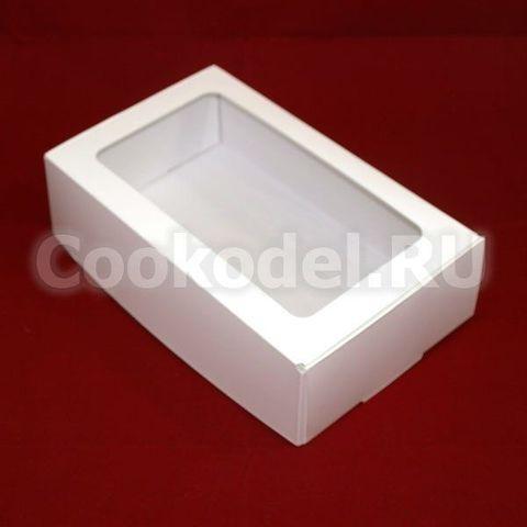 Коробка Белая с окном для эклеров 23х14х6,5 см