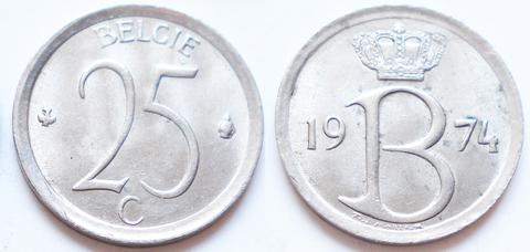 Бельгия 25 сантимов 1974