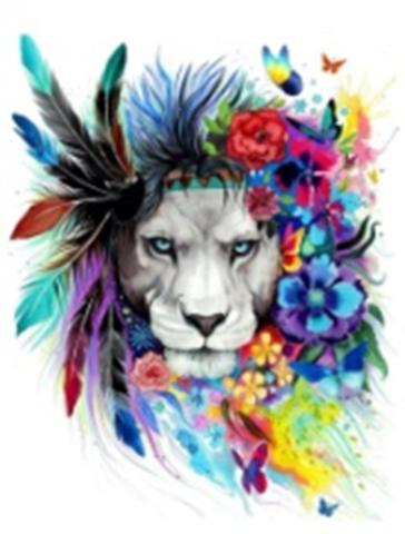 Картина раскраска по номерам 40x50 Лев с цветными перьями в гриве
