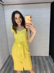 желтое платье с пуговицами недорого