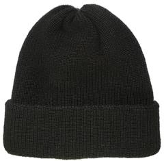 Черная зимняя шапка бини с отворотом