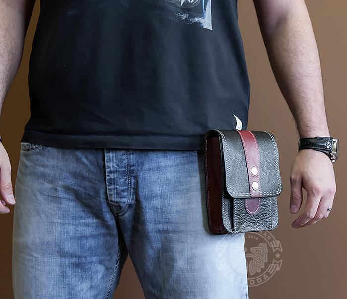 BAG379-3 Мужская поясная сумка ручной работы их натуральной кожи фото 04