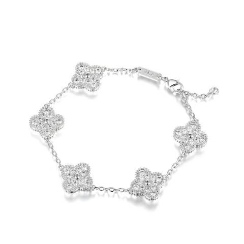 48952- Браслет Trendy из серебра с цирконами  5 мотивов