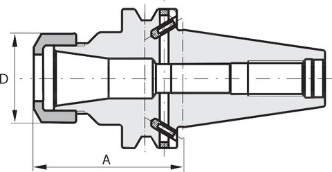 Цанговый патрон ER Форма ADB BT 40 A = 160