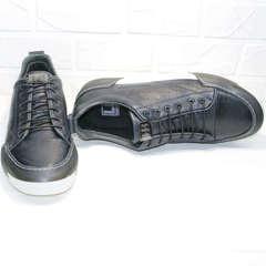 Мужские кожаные кеды кроссовки для повседневной жизни осень весна Luciano Bellini C6401 TK Blue.