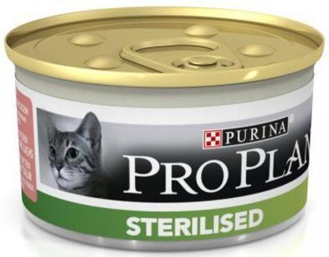 Pro Plan Sterilised для стерилизованных кошек, тунец/лосось, консервы 85 г