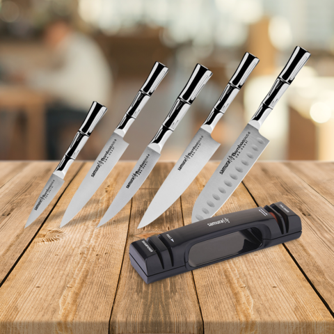 Набор из 5 ножей Samura BAMBOO и точилки KSS-2000