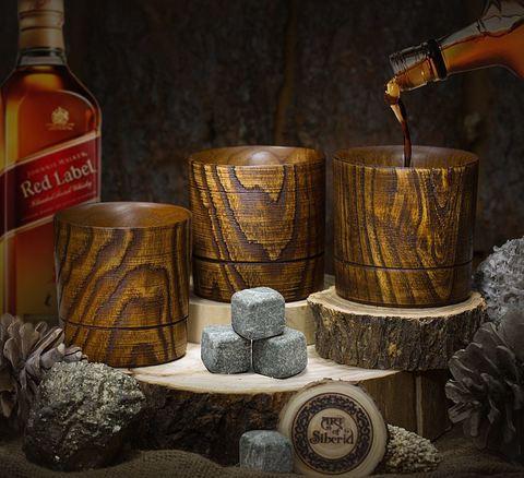 Набор бокалов для виски из дерева «Сибирский вяз», 3 шт