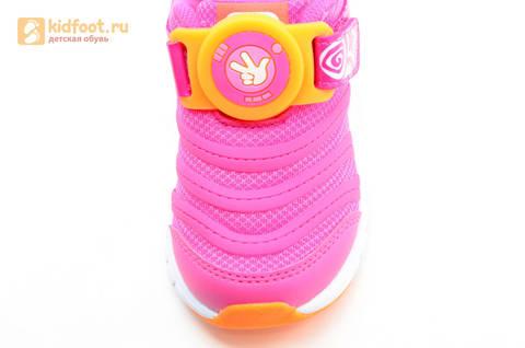 Светящиеся кроссовки для девочек Фиксики на липучках, цвет фуксия, мигает пряжка на липучке. Изображение 15 из 16.
