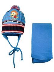Шапка и шарф Ежик синий фото 1