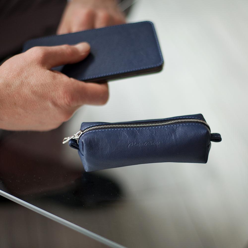 Ключница Cofre Easy из натуральной кожи теленка, цвета индиго