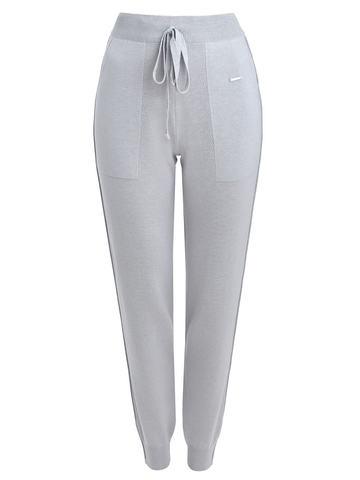 Светло-серые брюки из шёлка и кашемира спортивного силуэта - фото 1