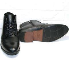 Кожаные мужские зимние ботинки на толстой подошве Ikoc 3640-1 Black Leather.