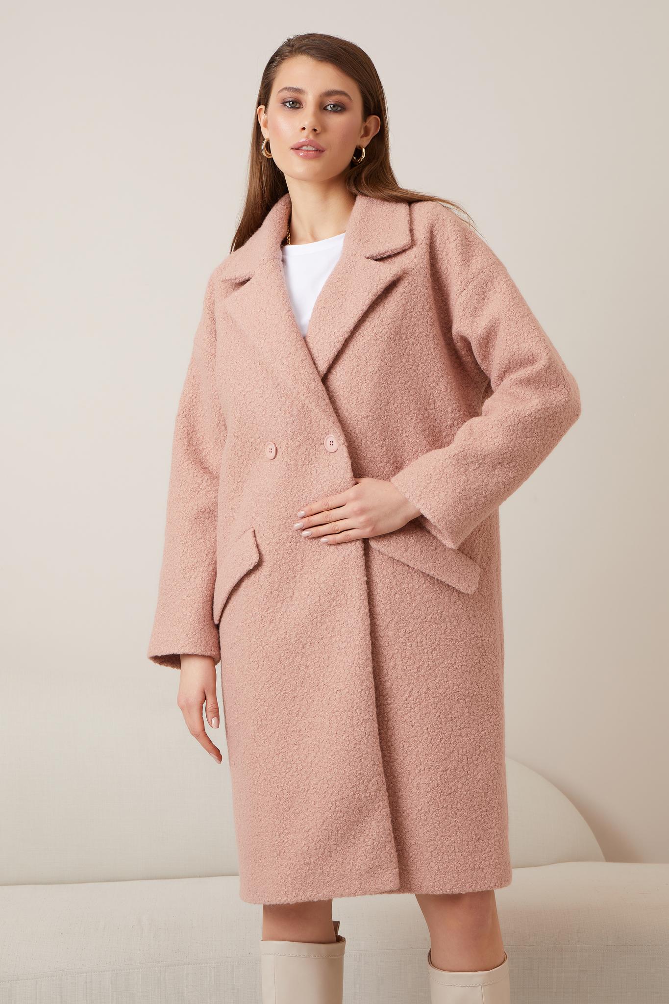 Прямое шерстяное  пальто (oversize) (пудровый)