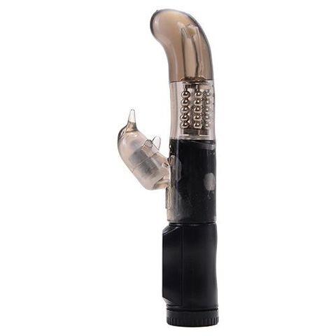 Дымчатый вибратор MAGIC TALES BLACK DOLPHIN с загнутой головкой и клиторальным отростком - 21 см.