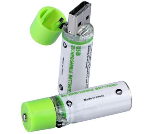 Аккумуляторные батарейки AA USB, 1450 mAh, 1.2V, NH-AA (2 шт.)