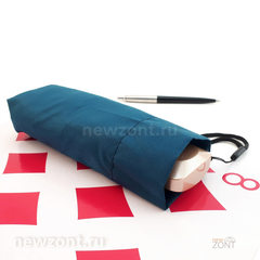 Плоский мини зонт АртРейн темно-лазурная синь