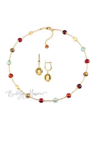 Комплект Carnavale Oro Piccolo (золотистые серьги на серебре, ожерелье)