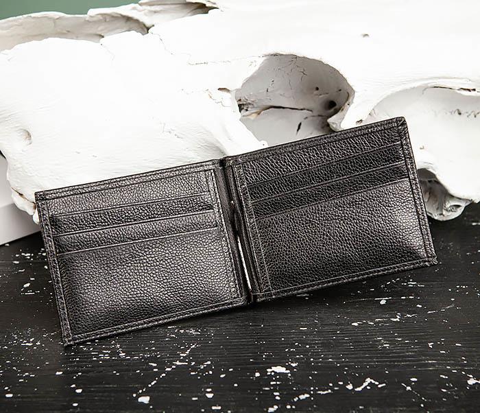 WL322-1 Мужской зажим для купюр «Santini» из черной кожи фото 05
