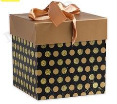 Коробка складная Горох.золотой 10 х 10 х 10 см. с лентой, 1 шт.