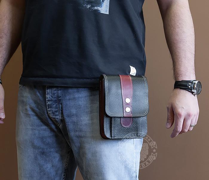 BAG379-3 Мужская поясная сумка ручной работы их натуральной кожи фото 05