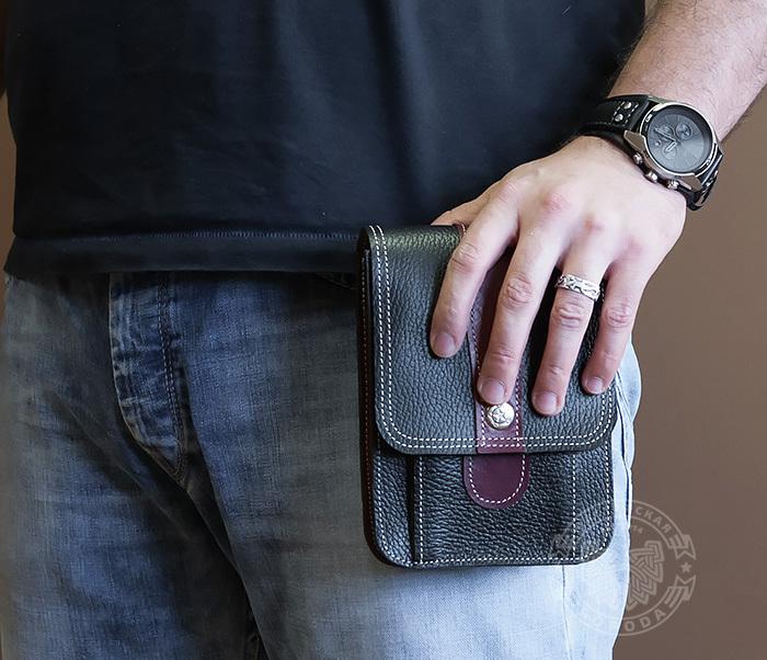 BAG379-3 Мужская поясная сумка ручной работы их натуральной кожи фото 06
