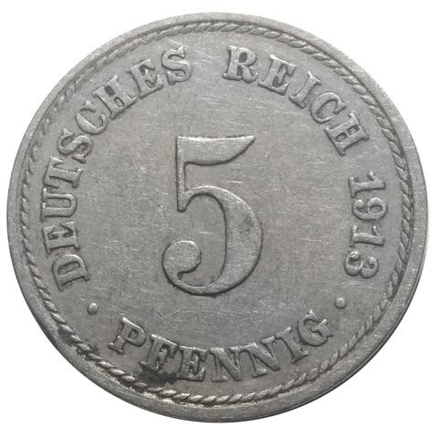 5 пфеннигов. Германия. 1913 год. XF
