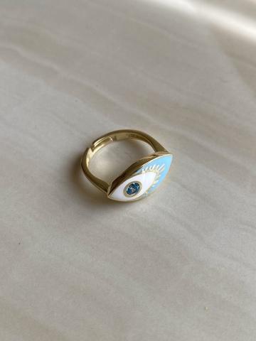 Кольцо Нами голубое, позолота