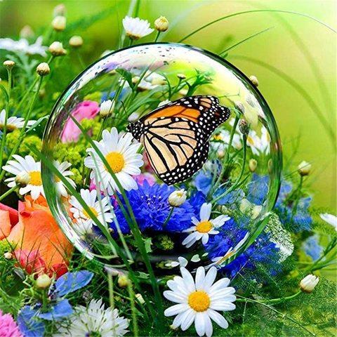 Алмазная Мозаика 38х28 Бабочка в мыльном пузыре на фоне цветов (арт. K1702)