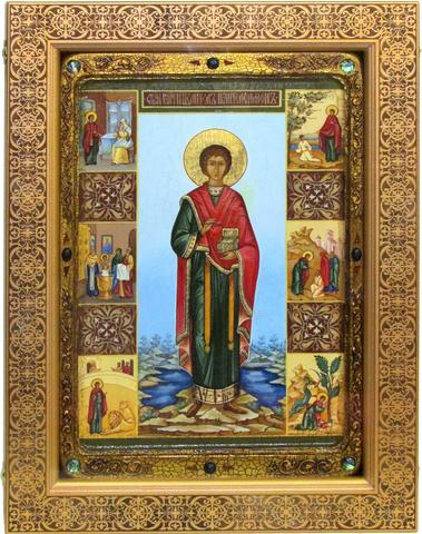 Большая Живописная икона Святой Великомученик и Целитель Пантелеймон 42х29см на кипарисе в березовом киоте