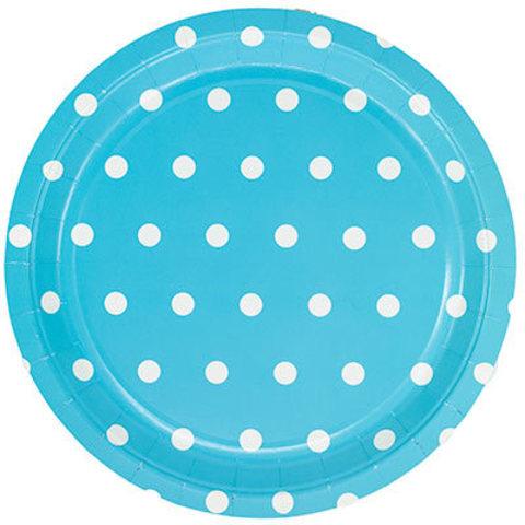 1502-3927 Тарелки большие Горошек голубые, 23 см., 6 шт
