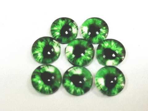 Глазки стеклянные,  8мм, зеленый. 1уп-8шт. (1121)
