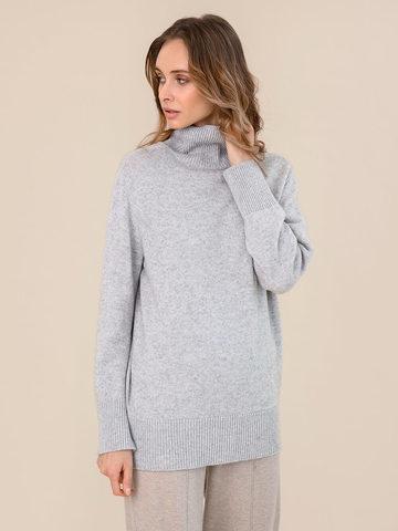 Женский свитер светло-серого цвета из шерсти и кашемира - фото 2