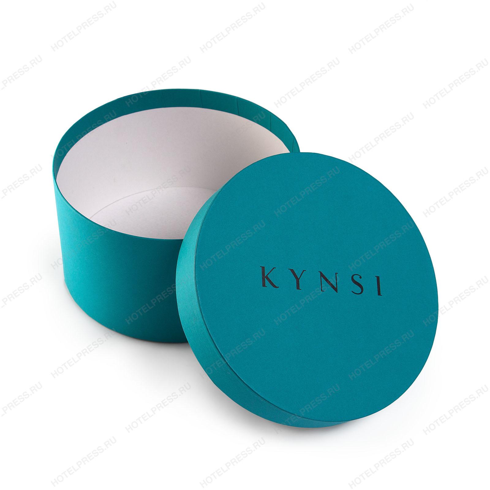 Круглая премиальная коробка из дизайнерской бумаги для подарочного набора салона красоты