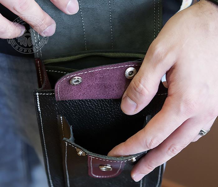 BAG379-3 Мужская поясная сумка ручной работы их натуральной кожи фото 08
