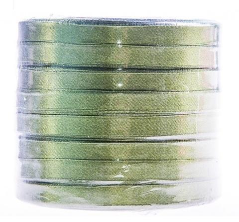 Лента атласная (размер: 10 мм х 50 ярд) Цвет: хаки
