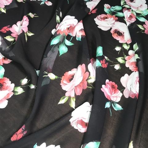 Ткань шифон шелковый черный с розами 1144