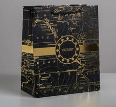 Пакет ламинированный вертикальный Gold present, ML 23 × 27 × 11,5 см, 1 шт.