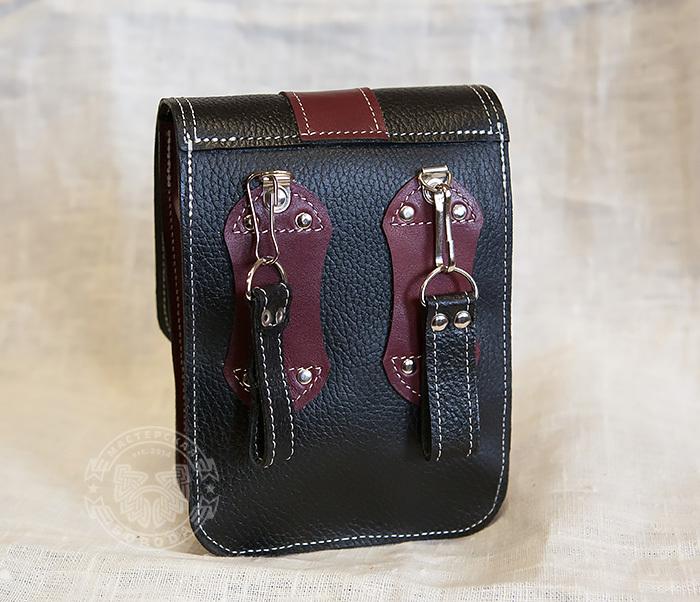 BAG379-3 Мужская поясная сумка ручной работы их натуральной кожи фото 09