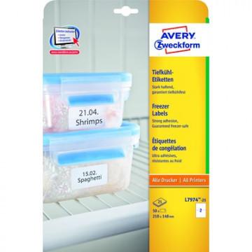 Этикетки самоклеящиеся Avery Zweckform морозостойкие белые 210x148 мм (2 штуки на листе А4, 25 листов, артикул производителя L7974-25)